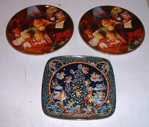 Franklin Mint Chistmas Collector Plate Lot : Trimmed to Purr- ++