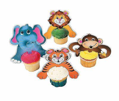 12 pc ZOO SAFARI ANIMAL Cupcake Picks CAKE TOP Birthday Party Baby Shower ()