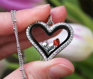 JULY Birthstone Crystal Glass Locket Necklace Mom Floating Charm Mother's Child