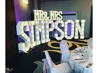 Hire our stunning *NEW* 2.5ft 'MR&MRS' + 4 5ft Light up Letters £255