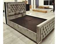POPULAR CHOICE = HEAVEN BED FRAME PLUSH VELVET FABRIC HIGH QUALITY AND SAME DAY DELIVERY