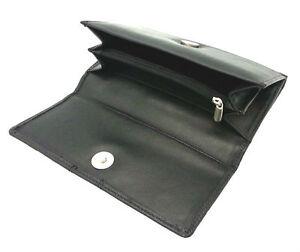 LADIES DESIGNER GENUINE SOFT BLACK REAL LEATHER WALLET CREDIT CARD HOLDER PURSE