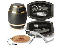 5 Piece Oak Barrel Wine Gift Set - Corkscrew Pourer Stopper Cutter Collar - Ideal Christmas Present