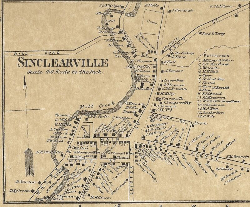 Charlotte Sinclairville NY 1867  Map with Businesses and Homeowners Names Shown