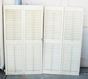 Vintage Wood Interior Window Shutters 42 Tall X 23 1 4 W All Louvers Work Ebay