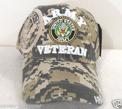 (MILITARY CAP ARMY  VETERAN  WITH SHADOW ACU DIGITAL CAMOUFLAGE HAT)
