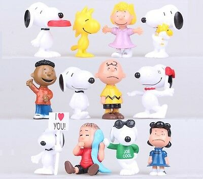 SNOOPY Peanuts Charlie Brown Playset 12 Figure Cake Topper * USA SELLER* Toy Set - Charlie Brown Cakes