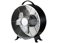 USED CHALLENGE CLOCK STYLE DESK FAN BLACK 8 INCH DESKTOP