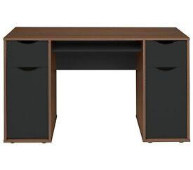 Hygena Berkeley Double Pedestal Desk - Black & Walnut Effect