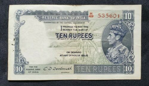 British India  - 10 RUPEES   - KGVI King George VI - signed C.D.DESHMUKH - XF
