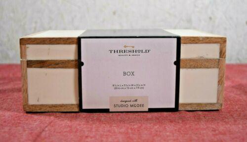 "Threshold Studio McGee- Wood Edge Trim Resin Inlay Decorative Box Ivory, 8"" x 5"""