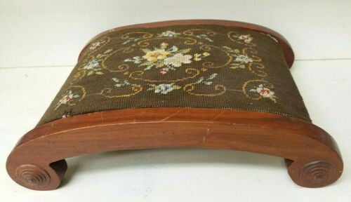 Handmade Curved Harp FOOT REST Carriage Fender STOOL Victorian Needlepoint