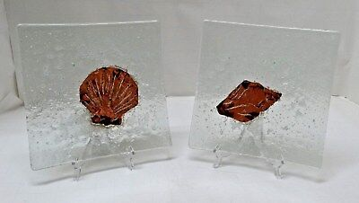 2 Jones Glassworks Fused Copper Glass Bent Dishes SHELLS ~ 8