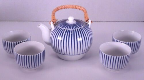 Vintage Otagiri OMC Tea Set Ceramic Blue & White Stripe Rattan Handle 4 Cups Set