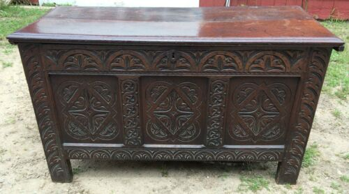 "52"" Antique English Trunk Coffer Hand Carved Early England Large"