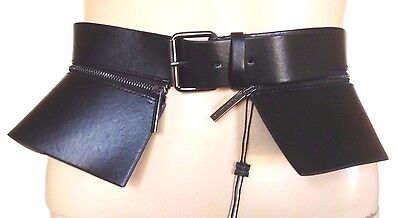 NEW BCBGMAXAZRIA BCBG BELT BLACK PEPLUM BELT VEGAN LEATHER METAL SIZE MEDIUM