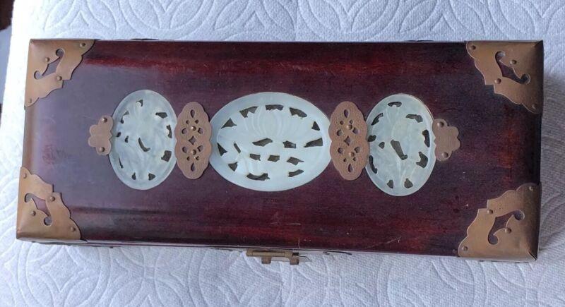 CHINESE WHITE JADE RED WOOD JEWELRY TRUNK BOX WITH LOCK