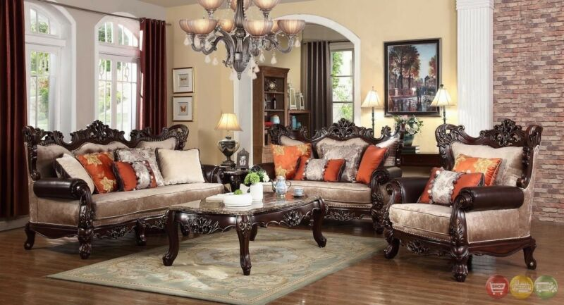 Luxury Winged Back Traditional Formal Sofa & Loveseat Set With Carved Wood Frame