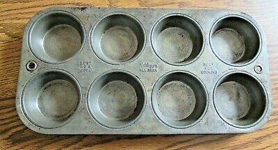 Vtg Kellogs All Bran 8 cup Muffin Tin Metal 7