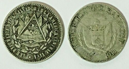EL SALVADOR 10 CTS 1914-1911 SILVER 0.835 - THE NEW (ACTUAL)  AND THE OLD ESCUDO