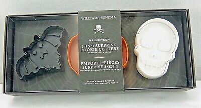 Williams Sonoma Halloween Cookie Cutters Set Pumpkin Bat Skull 3-in-1 - Williams Sonoma Cookie Cutters Halloween