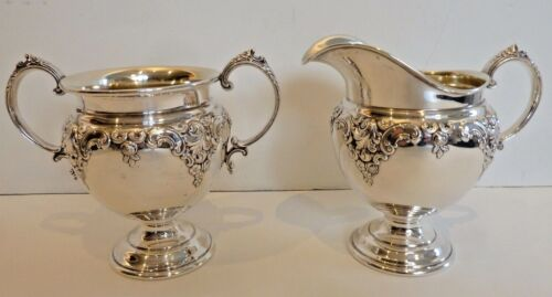 "WALLACE ""GRANDE BAROQUE"" STERLING SUGAR & CREAMER W/ GOLD WASHED INTERIOR"