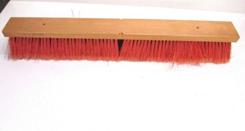 "NOS! 24"" FLOOR BRUSH RED FLAG PLASTIC 3"" BRISTLES"