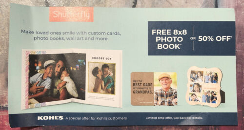 Shutterfly Coupon 8x8 Photo Book At No Cost Or 50 Off Order - $1.87