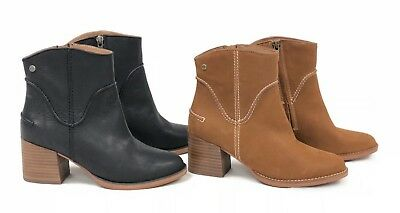 - Ugg Australia Annie Bootie Chestnut or Black Heeled Ankle Boot 1095061 Side Zip