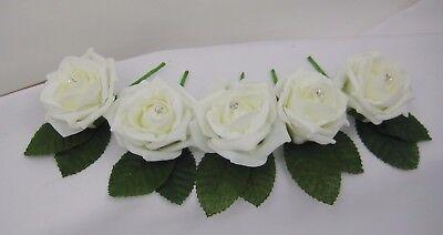 Rose Wedding Buttonholes Ivory Diamante or Pearl Groom,Best Man,Guest