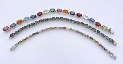 GEM TREASURES SHOPHQ STERLING SILVER 925 MULTI-GEMSTONE 3 TENNIS BRACELETS LOT