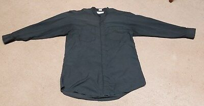 CLERGY LITURGICAL NECKBAND SHIRT BLACK LONG SLEEVE 15 1/2 31/32 C M ALMY