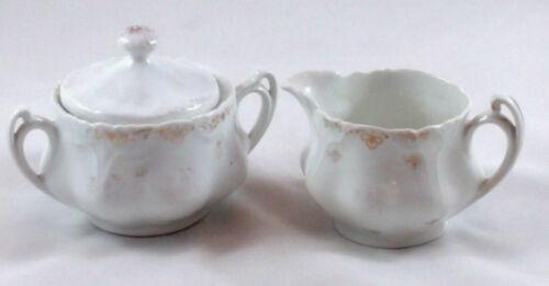 Vintage Porcelain Creamer & Sugar Bowl- Gold Design- Germany Z.S. & C Bavaria