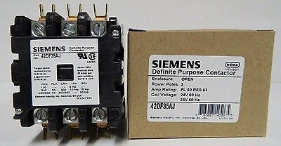 New Siemens 42df35aj Furnas Definite Purpose Contactor Class 42 50amp 24vac Coil