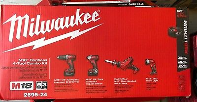 24 M18 Drill Driver - Milwaukee 2695-24 M18 18V Series Cordless Lithium-Ion 4-Tool Combo Kit New Seale