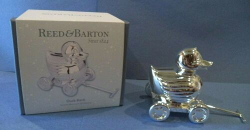NEW REED AND BARTON SILVER PLATED DUCK BANK IN ORIGINAL BOX- HAS ROLLING WHEELS!