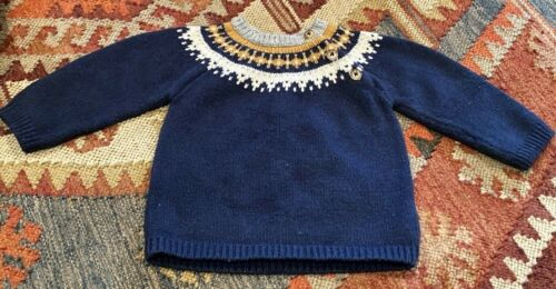 Baby Boden baby toddler 12-18m Fair Isle crew sweater in Navy, Gold, Cream, Gray
