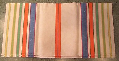 VINTAGE 1960's LINEN KITCHEN DISH TOWEL HAND SEWN EDGES ORANGE YELLOW GREEN BLUE