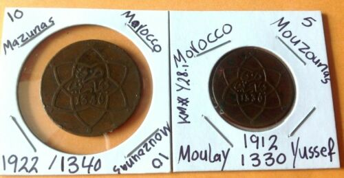 Morocco 1911,1921 (5,10 mazunas ) AH 1330,1340, المغرب