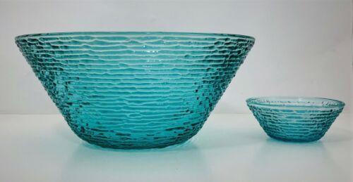 Anchor Hocking Soreno Chip & Dip Bowls Aquamarine Turquoise Blue Salad Serving