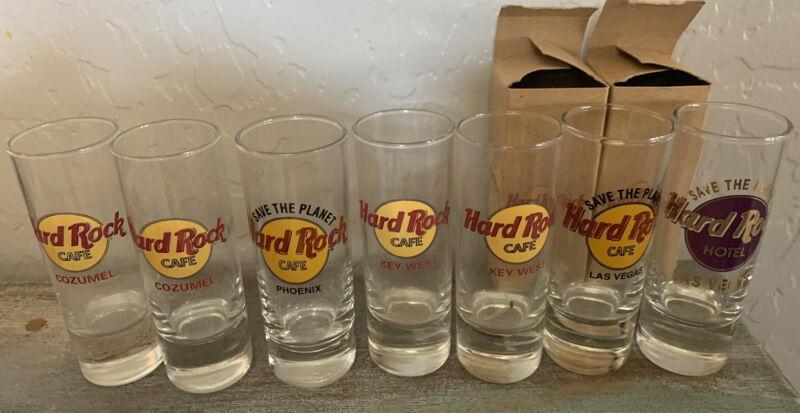 Lot Of 7 Hard Rock Cafe Shot Glasses- Las Vegas, Key West, Cozumel, Phoenix