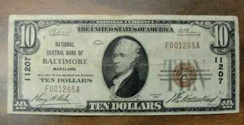 "1929 $10 Dollar National Banknote Brown Seal ""Baltimore Charter #11207"""