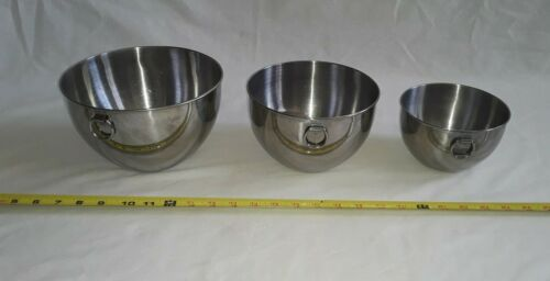 Revere Ware Mixing Bowls NESTING BOWLS W/ hanging loops, STAINLESS STEEL, VTG.