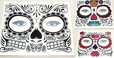 1 x Day of the Dead Face Mask Temp Tattoo Transfer Halloween Fancy Dress - Halloween Costumes Tempe