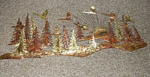 METAL ART FOREST SCENE WITH GREESE AND PINES APPROX 55 INCHES X 24 INCHES