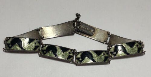 Vintage Gustav Gaudernack Norway Sterling Silver Enamel Bird? Bracelet