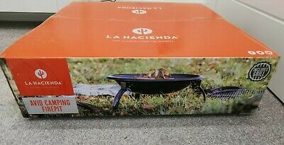 LA HACIENDA 58289 AVID CAMPING FIREPIT FIREBOWL WITH GRILL - BLACK - NEW