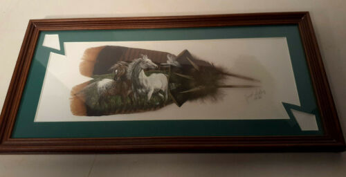JANET LEROY Framed Painted Feathers ARTWORK Horse Painting Signed & Numbered Vtg