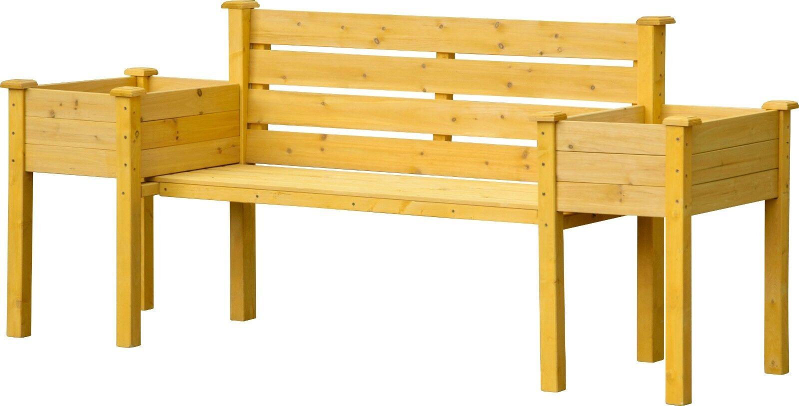 Sitzbank und Pflanzkübel Kombination FSC, Gartenbank mit seitlichen Pflanzkästen