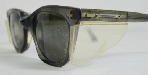cc36532e5a8b Details about True Vtg Aden Smoke Gray Z87 ASH Safety Sunglasses 48mm Lens  Side Shields